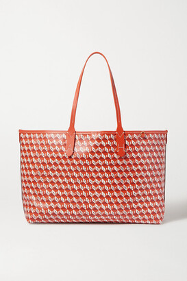 Anya Hindmarch + Net Sustain I Am A Plastic Bag Small Leather-trimmed Printed Coated-canvas Tote - Orange