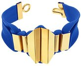 MARION VIDAL Geometric Blue Polyester Ribbon with Golden Brass Bracelet