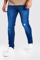 boohoo Mens Blue Skinny Jean With Abrasions, Blue