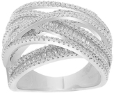 Bliss Cubic Zirconia & Sterling Silver Pavé Crossover Ring