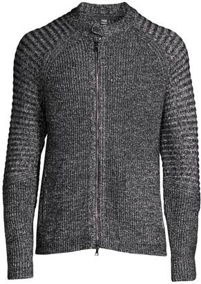 John Varvatos Biker-Sleeve Zip Cardigan