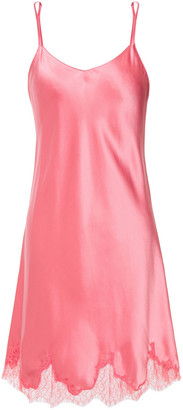 Ginia Lace-trimmed Silk-satin Chemise