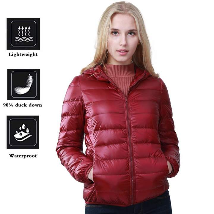 44d9fa59952 Jackets Women Packable Down Quilted Jacket Lightweight Solid Hooded Puffer  Coats KIKOY