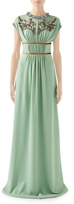 Gucci Technical Jersey Embellished Cap-Sleeve Gown