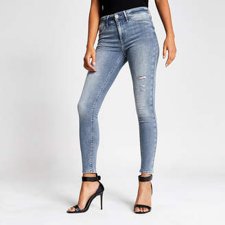 River Island Grey ripped Molly mid rise jeggings