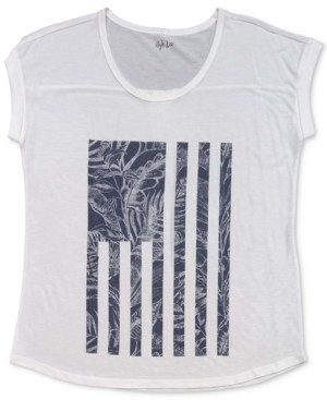 Style&Co. Style & Co Tropical Flag Graphic T-Shirt, Created for Macy's