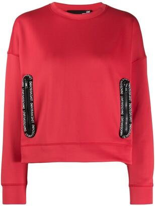Love Moschino Logo Trim Crew-Neck Sweatshirt
