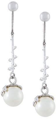 Kasun London Exposed pearl drop earrings