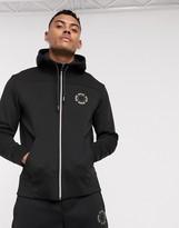 Boss Athleisure BOSS Athleisure Salbo small circle logo zip through hoodie in black