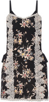 Anna Sui Lace-paneled Printed Silk Crepe De Chine Mini Dress - Black
