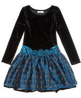 Bonnie Jean Black & Teal Stretch Dress, Big Girls (7-16)