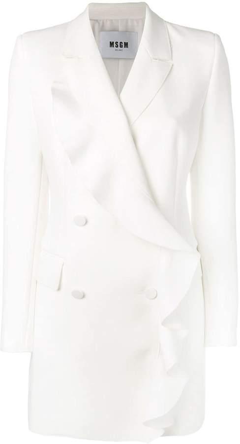 ruffled long blazer
