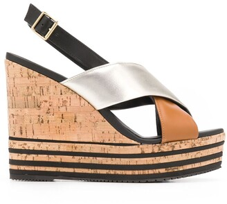 Hogan Crossover Strap Sandals