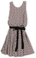 Helena Sleeveless Belted Tulip Circle Dress, Multicolor, Size 7-14