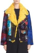 Marques Almeida Women's Marques'Almeida Genuine Calf Hair Jacket With Genuine Shearling Collar