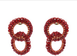 Red Small Hand Crochet Interlocked Links Earrings