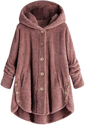 Elup Women Coat Jacket Ethnic Boho Print Warm Flannel Inner Cotton Padded Hooded Loose Outerwear Oversized Plus Size UK 12-24