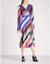 Diane von Furstenberg Striped silk-crepe wrap dress