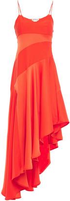 Nicholas Asymmetric Satin-paneled Crepe Dress