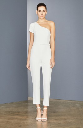 Amsale One-Shoulder Stretch Crepe Ankle Jumpsuit