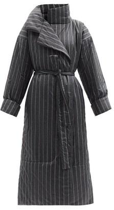 Norma Kamali Sleeping Bag Striped Padded Coat - Black Multi