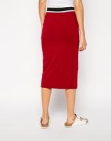 Asos Pencil Skirt With Stripe Elastic Waistband