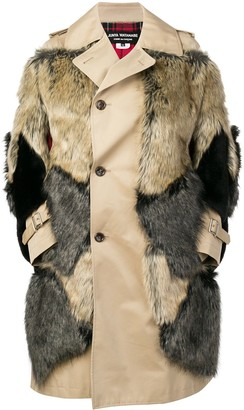 Junya Watanabe Faux Fur Patches Single Breasted Coat
