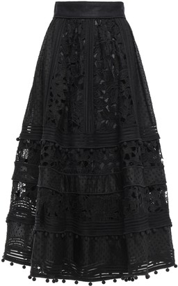 Zimmermann Embellished Embroidered Organza And Lace Midi Skirt