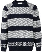 White Mountaineering textured stripe jumper - men - Wool - 2