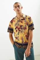 Urban Outfitters Floral + Leopard Rayon Short Sleeve Button-Down Shirt