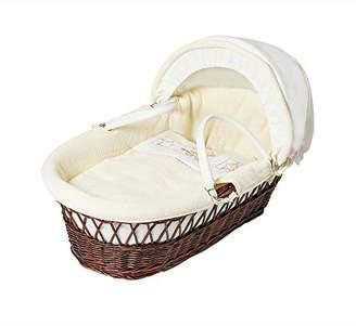 Baby Elegance Ted Dark Wicker Moses Basket, Cream Star