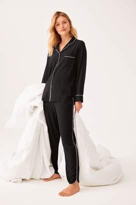 Next Womens Black Piped Button Through Pyjamas - Black