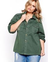 Addition Elle L&L Long Sleeve Military Button Down Jacket