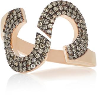 TULLIA Magic S 14K Rose Gold Diamond Initial Ring