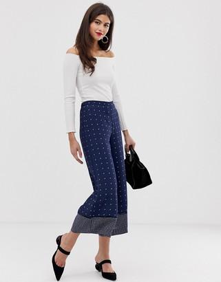 French Connection printed wide leg pants with panel detailing