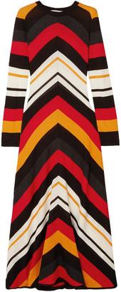 MSGM Striped Wool-blend Maxi Dress