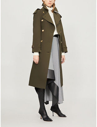 Burberry Protective Womens Dark Military Khaki Green Check The Heritage Long Westminster Cotton Trench Coat, Size: 10
