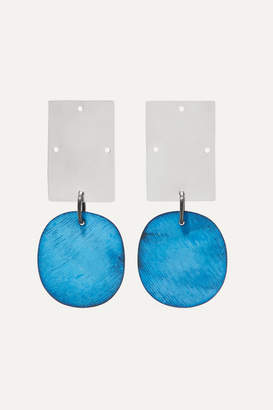 Annie Costello Brown Overt Silver And Oxidized Earrings