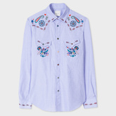 Men's Slim-Fit Sky Blue Cotton Western Shirt With Paisley And Floral Embroidery