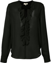 L'Agence sheer ruffle front blouse