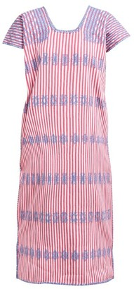 Pippa Holt - No.146 Geometric-embroidered Striped Cotton Kaftan - Womens - Pink White