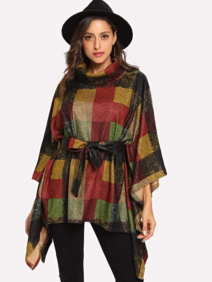 Shein Plaid Dolman Sleeve Roll Neck Pullover