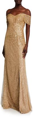 Rene Ruiz Collection Off-the-Shoulder Beaded Column Gown