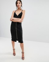 Liquorish Black Zip Front Pencil Skirt