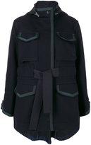 Sacai belted midi parka - women - Cotton/Cupro/Wool - 1