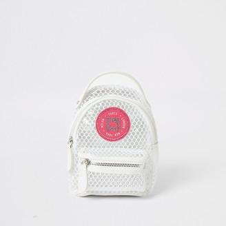 River Island Girls white mesh mini backpack