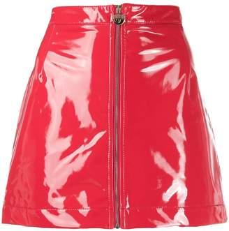 Chiara Ferragni vinyl zip skirt
