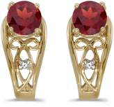 Direct-Jewelry 14k Yellow Gold Round Garnet And Diamond Earrings