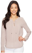 Calvin Klein Jeans Hi Lo Lace-Up Popover Women's Long Sleeve Pullover