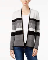 Charter Club Petite Cotton Colorblocked Completer Cardigan, Created for Macy's